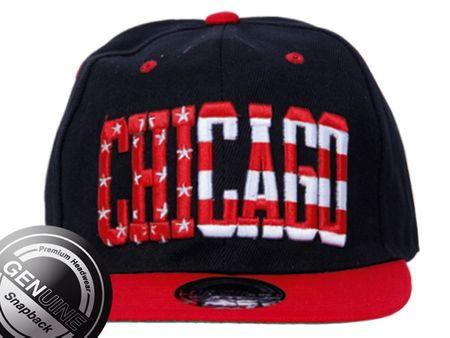Chicago City Fashion Baseball Snapback Cap in rot-schwarz – Bild 2