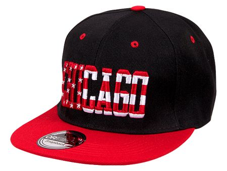 Chicago City Fashion Baseball Snapback Cap in rot-schwarz