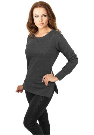 Urban Classics Ladies Side Zip Long Crewneck in charcoal von Größe XS-XL – Bild 1
