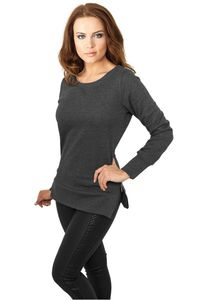 Urban Classics Ladies Side Zip Long Crewneck in charcoal von Größe XS-XL 001