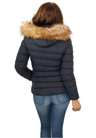 Urban Classics Ladies Hooded Fur Jacket in navy von Größe XS-XL – Bild 3