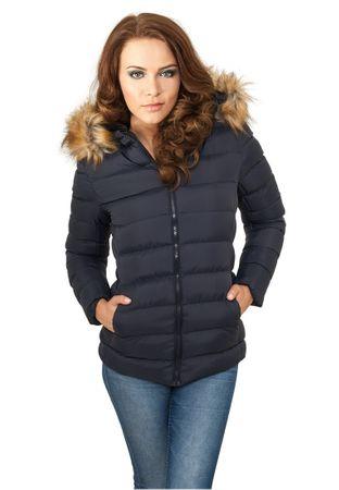 Urban Classics Ladies Hooded Fur Jacket in navy von Größe XS-XL