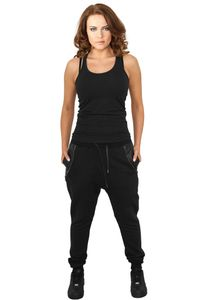 Urban Classics Ladies Side Zip Leather Pocket Sweatpant in schwarz von Größe XS-XL 001
