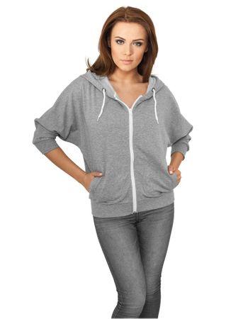 Urban Classics Ladies Bat 3/4 Sleeve Zip Hoody in grau-weiß von Größe S-XL