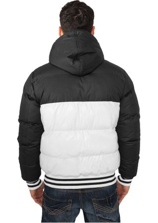 Urban Classics Shiny 2-Tone Hooded Bubble College Jacke in schwarz/weiß von Größe S-2XL – Bild 2