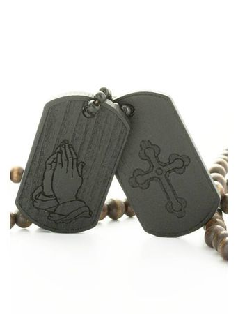 Wood Fellas Halskette / Necklaces Praying Dog Tag in schwarz – Bild 4