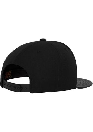 Flexfit Leather Snapback Baseball Cap in schwarz – Bild 4