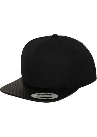 Flexfit Leather Snapback Baseball Cap in schwarz – Bild 1