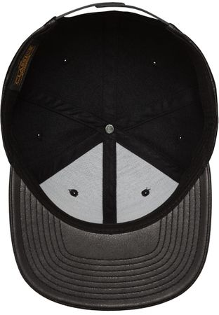 Flexfit Full Leather Imitation Snapback Cap in schwarz – Bild 5