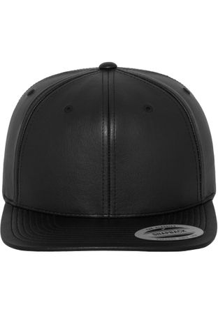 Flexfit Full Leather Imitation Snapback Cap in schwarz – Bild 4