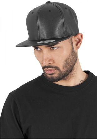 Flexfit Full Leather Imitation Snapback Cap in schwarz – Bild 1
