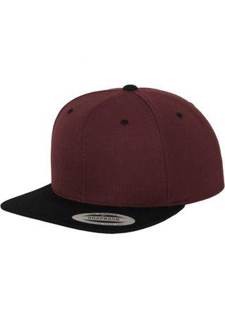 Flexfit / Yupoong Classic Snapback 2-Tone Cap in maroon-schwarz – Bild 1