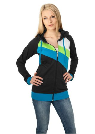 Urban Classics Ladies 3 Colour Jersey Zip Hoodie schwarz/türkis/lime in Größe XS-XL
