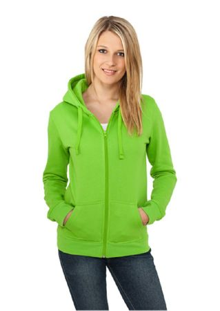 Urban Classics Ladies Zip Hoodie limegrün in S-L – Bild 1