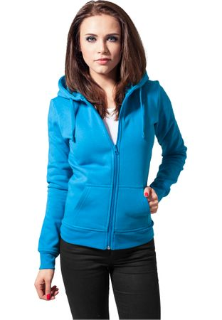 Urban Classics Ladies Zip-Hoodie türkis in XS-XL – Bild 1