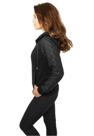 Urban Classics Ladies Diamond Leather Imitation Sleeve Zip Hoody schwarz in den Größen XS-XL – Bild 2