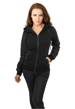 Urban Classics Ladies Diamond Leather Imitation Sleeve Zip Hoody schwarz in den Größen XS-XL – Bild 1