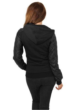 Urban Classics Ladies Diamond Leather Imitation Sleeve Zip Hoody schwarz in den Größen XS-XL – Bild 3