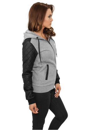 Urban Classics Ladies Diamond Leather Imitation Sleeve Zip Hoody grau-schwarz in den Größen XS-XL – Bild 2