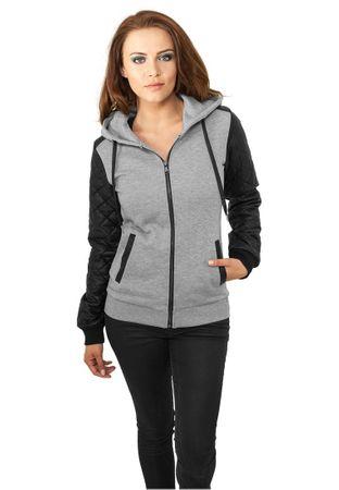 Urban Classics Ladies Diamond Leather Imitation Sleeve Zip Hoody grau-schwarz in den Größen XS-XL – Bild 1