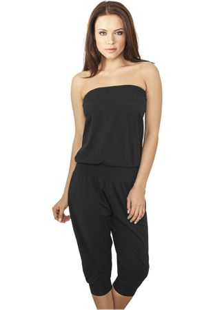 Urban Classics Ladies Shoulderfree Capri Jumpsuit in schwarz von XS-XL – Bild 1