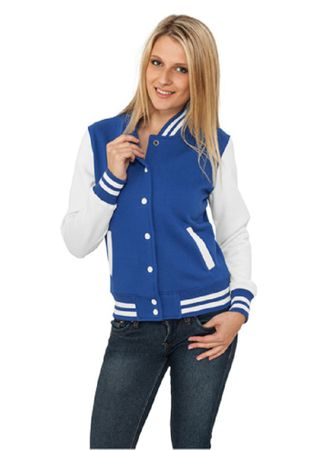 Urban Classics Ladies 2-Tone College Sweatjacket in royal-weiß von Größe XS-XL