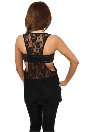 Urban Classics Ladies Flower Laces Loose Tank in schwarz von XS-XL – Bild 3