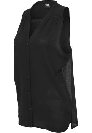 Urban Classics Ladies Sleeveless Chiffon Blouse in schwarz von XS-XL – Bild 3