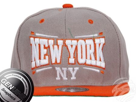 Viper City Fashion Baseball Snapback Cap New York grau-orange