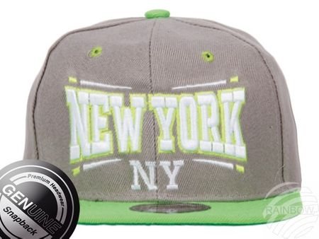 Viper City Fashion Baseball Snapback Cap New York grau-neongrün