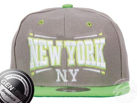 Viper City Fashion Baseball Snapback Cap New York grau-neongrün