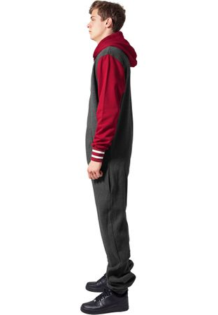 Urban Classics College Sweat Jumpsuit in charcoal-ruby von  XS/S bis XL/2XL – Bild 4