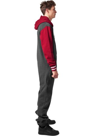 Urban Classics College Sweat Jumpsuit in charcoal-ruby von  XS/S bis XL/2XL – Bild 3