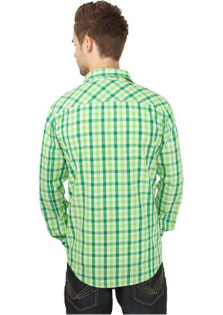 Urban Classics Tricolour Big Shirt Hemd in grün-weiß-lime Größe S-2XL – Bild 2