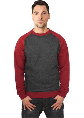 Urban Classics 2-Tone Raglan Sweatshirt charcoal-ruby von Größe S-2XL – Bild 1