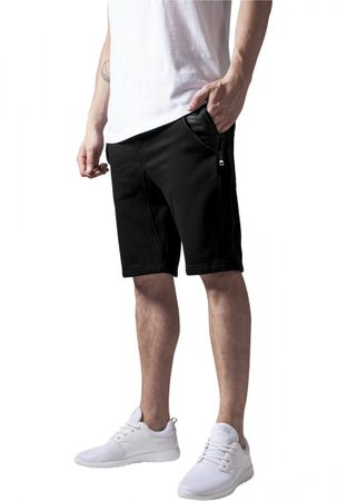 Urban Classics Side-Zip Leather Imitation Sweatshorts in schwarz von S-2XL – Bild 1