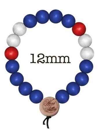 Wood Fellas Holzperlen Armkette in royal-rot-weiß von 6-12mm Deluxe Bracelet – Bild 4