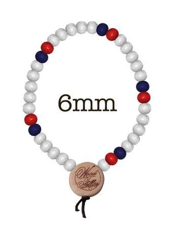 Wood Fellas Holzperlen Armkette in weiß-rot-navy von 6-12mm  – Bild 4