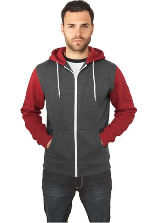 Urban Classics Relaxed 3-Tone Zip Hoody in charcoal-ruby von S-2XL – Bild 1