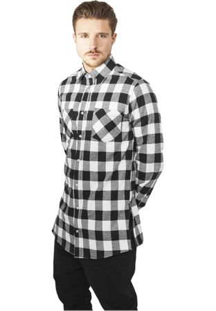 Urban Classics Side-Zip Long Checked Flanell Shirt schwarz-weiß von S-2XL