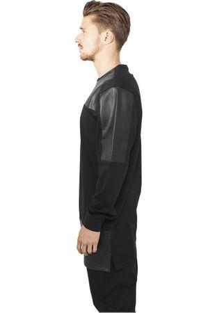 Urban Classics Leather Imitation Block Longsleeve in schwarz von S-2XL – Bild 3