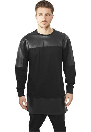 Urban Classics Leather Imitation Block Longsleeve in schwarz von S-2XL – Bild 1