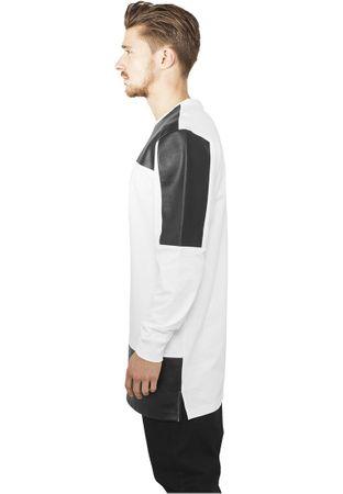 Urban Classics Leather Imitation Block Longsleeve in weiß-schwarz von S-2XL – Bild 3