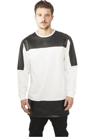 Urban Classics Leather Imitation Block Longsleeve in weiß-schwarz von S-2XL – Bild 1