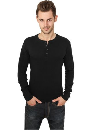 Urban Classics Slim 1by1 Henley Longsleeves Shirt in schwarz von S-2XL