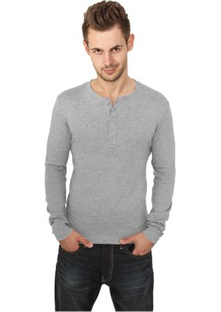 Urban Classics Slim 1by1 Henley Longsleeves Shirt in grau von S-2XL