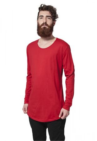Urban Classics Long Shaped Fashion Longsleeve Tee in rot von S-2XL – Bild 1