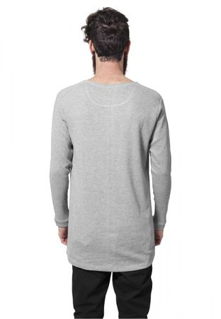 Urban Classics Long Shaped Waffle Longsleeve Tee in grau von S-2XL – Bild 2