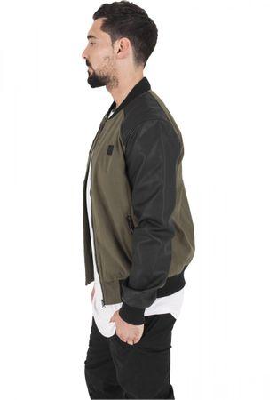Urban Classics Cotton Bomber Leather Imitation Sleeve Jacket in olive-schwarz von S-2XL – Bild 2