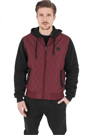 Urban Classics Hooded Diamond Quilt Nylon Jacket schwarz-burgundy von S-2XL